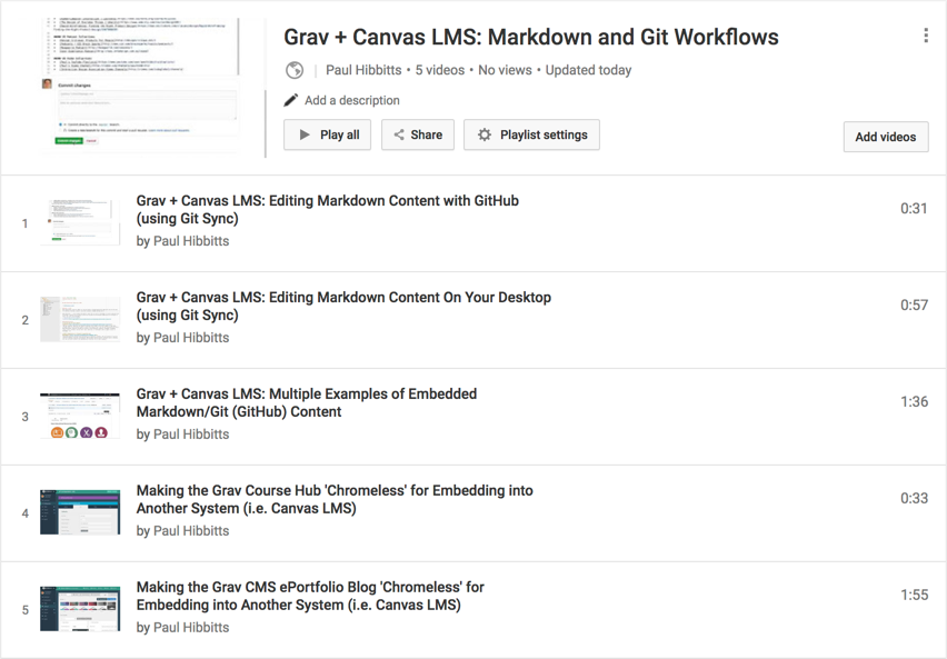 Grav + Canvas LMS: Markdown and Git Workflows, a Video